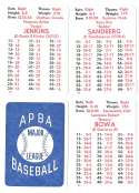 1982 APBA Season w/ Extra Players - CHICAGO CUBS Team Set