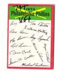 1974 Topps Team Checklist Card VG+ Condition - PHILADELPHIA PHILLIES
